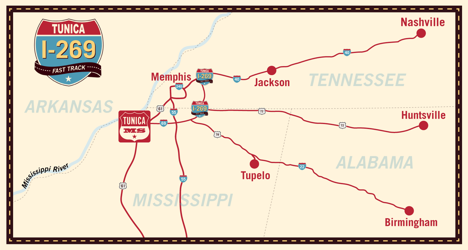 tunica mississippi s map Directions To Tunica Via New I 269 Tunica tunica mississippi s map